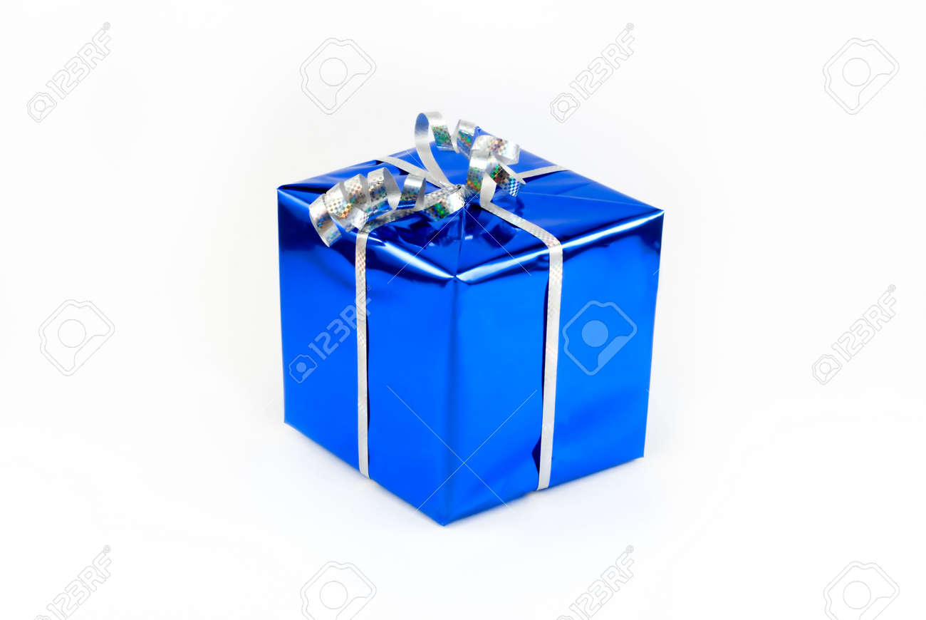 Gift box of blue color with a silvery tape stock photo picture and gift box of blue color with a silvery tape stock photo 2136403 negle Gallery
