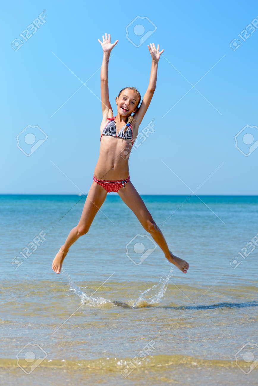 Jumping in bikinis