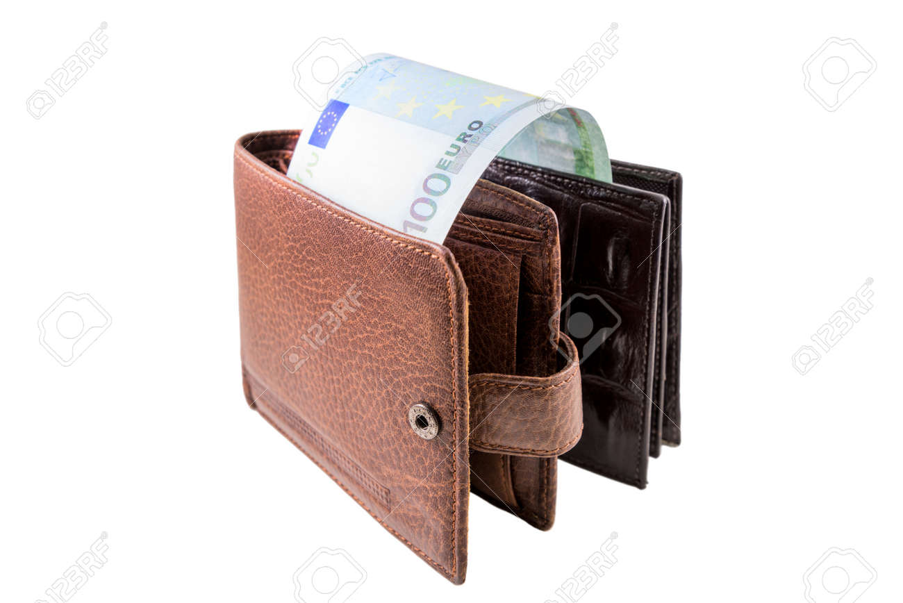 The brown  leather wallet with euro is photographed on the close-up Stock Photo - 21193133