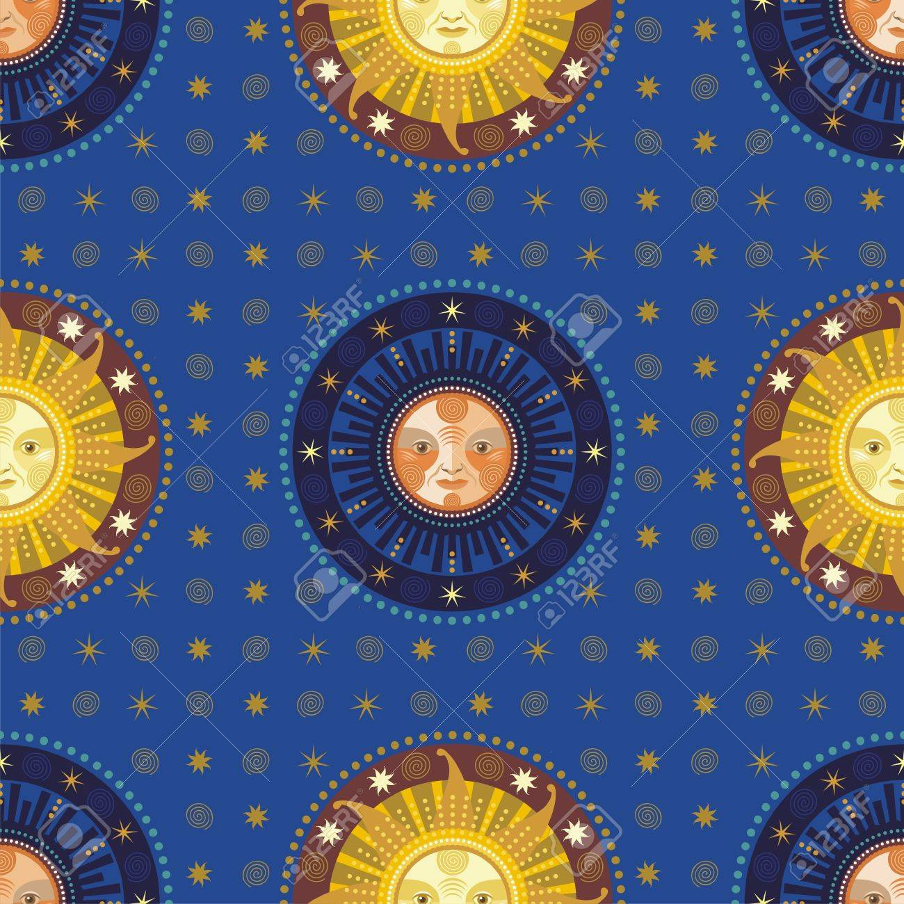 Vintage seamless pattern with decorative celestial elements Stock Vector - 12995272