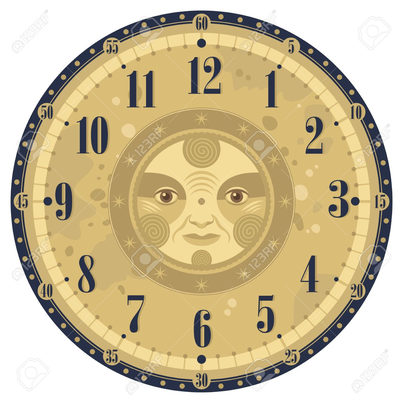 Vintage Clock Face Template With Decorative Sun Royalty Free ...