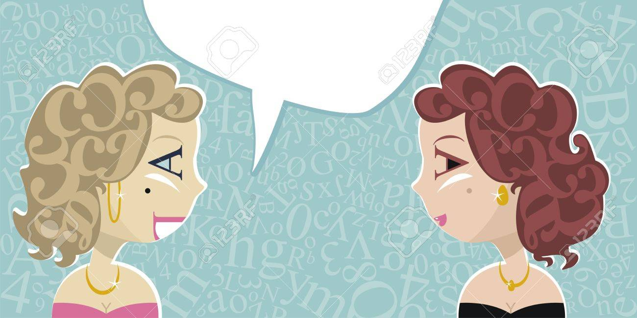 Talking ladies with random letters background and speech balloon Stock Vector - 14526620