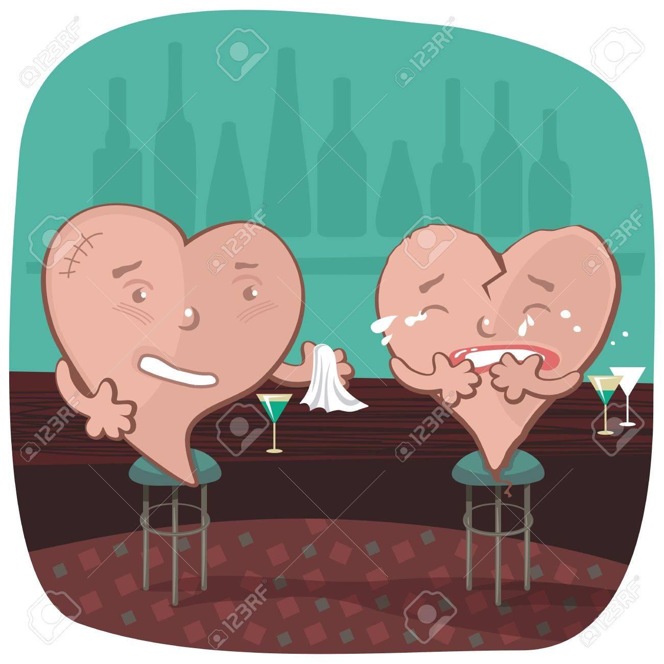 Stranger offering a napkin to a broken heart, in a bar Stock Vector - 14661756