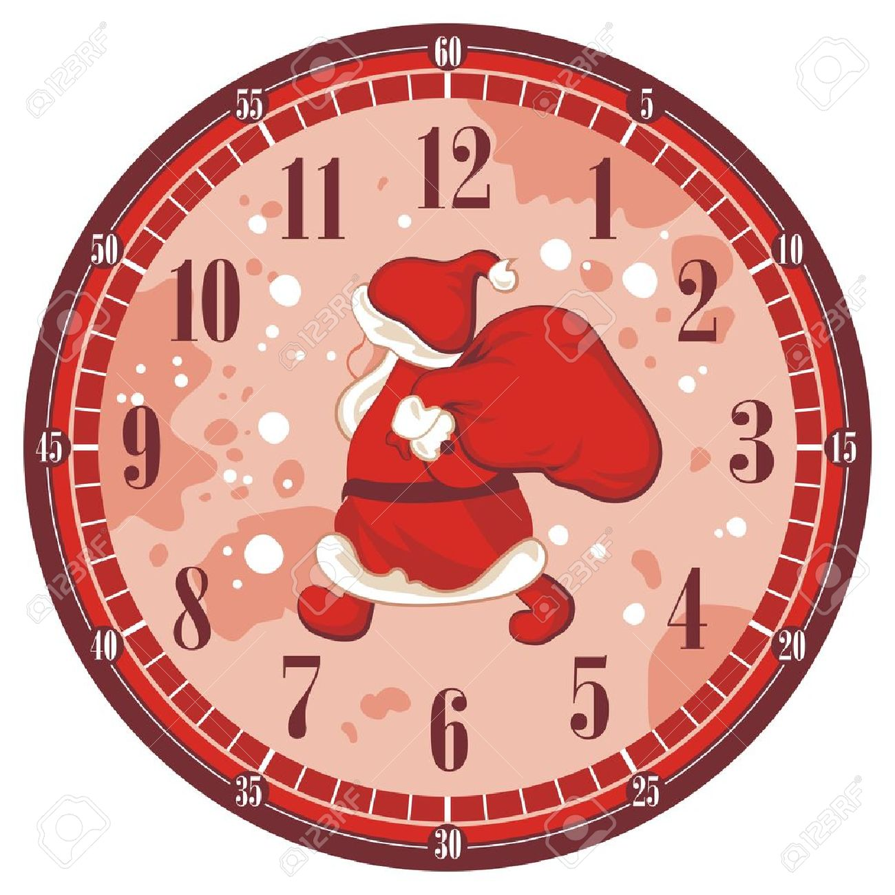 Isolated Christmas Clock Face Template With Santa Royalty Free ...