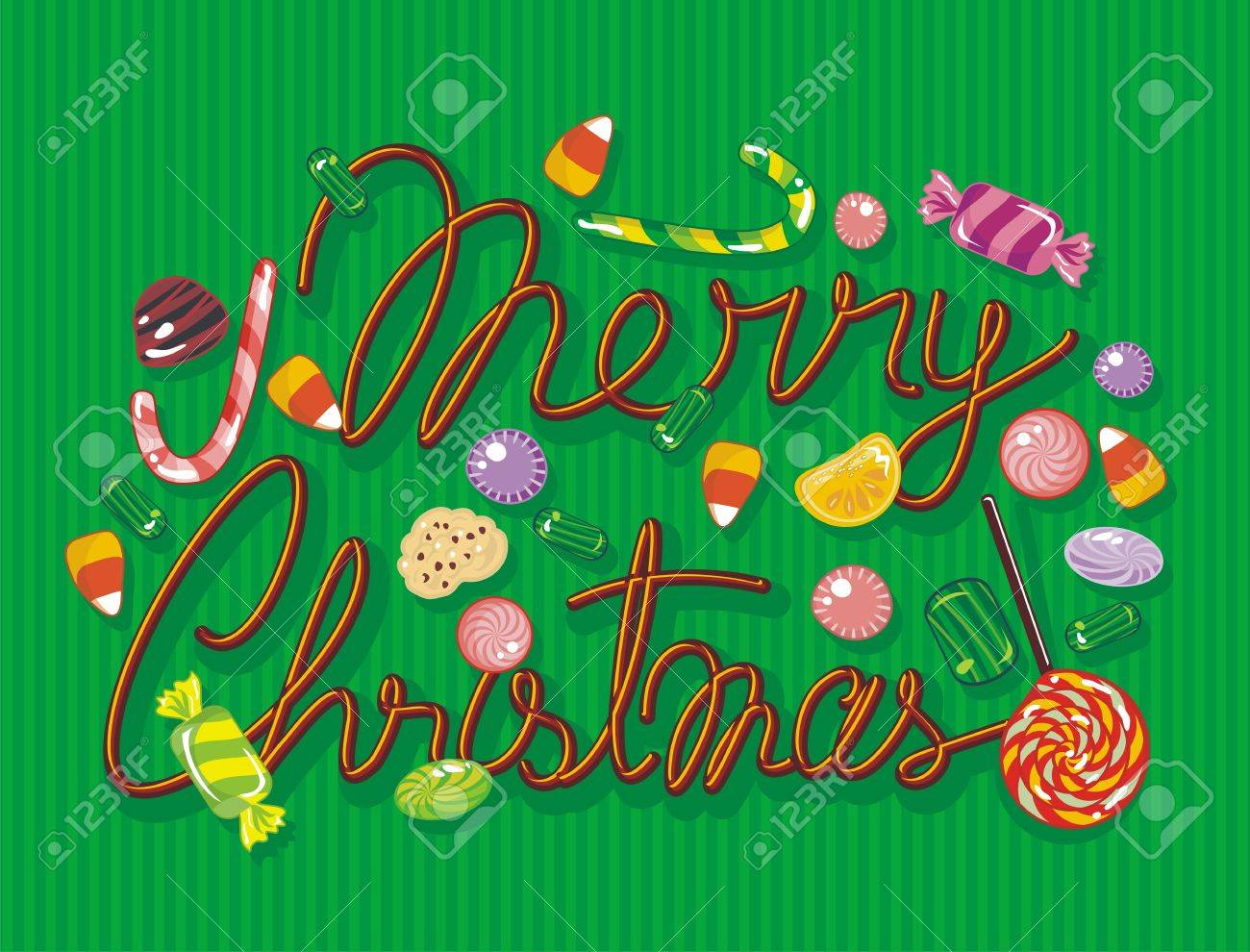 Colorful Christmas illustration with sweets and candies Stock Vector - 15632428