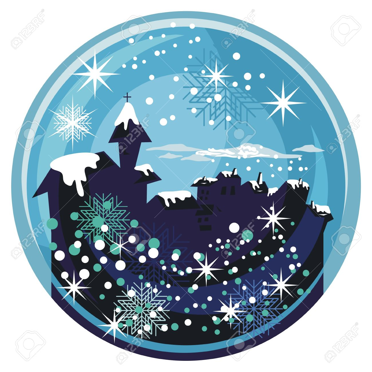 winter snow globe with old town and seasonal elements royalty free