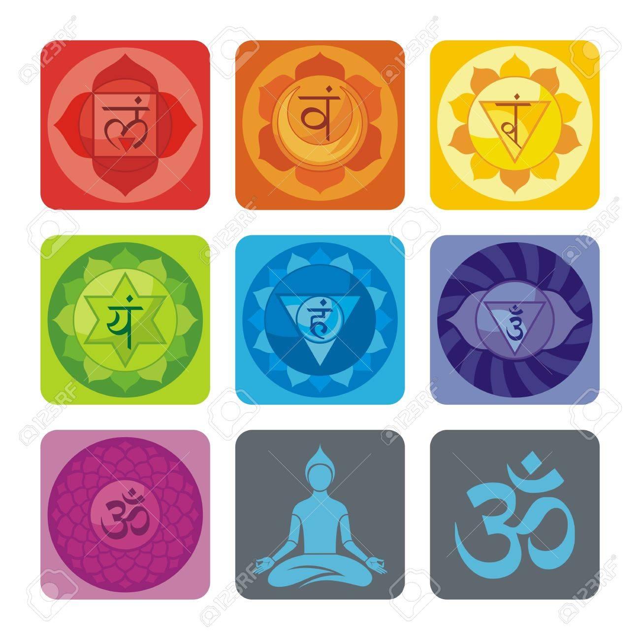 Spiritual set with chakras and yoga icons Stock Vector - 18217234