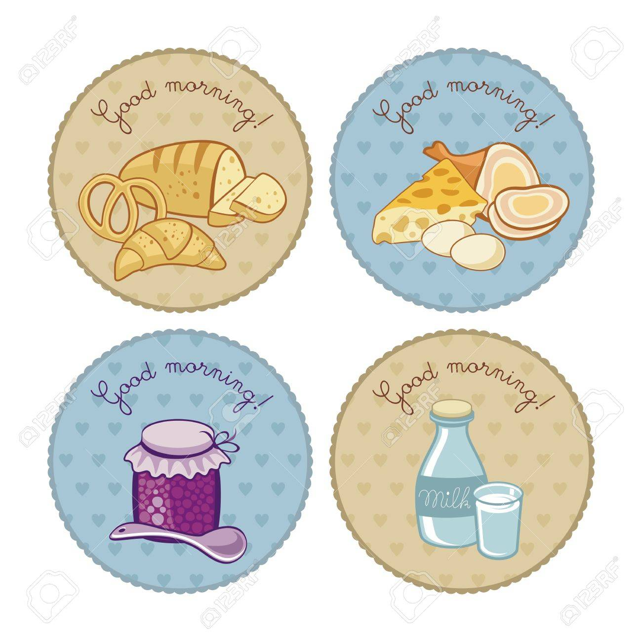 Breakfast Set With Round Vintage Tags Royalty Free Cliparts, Vectors ...