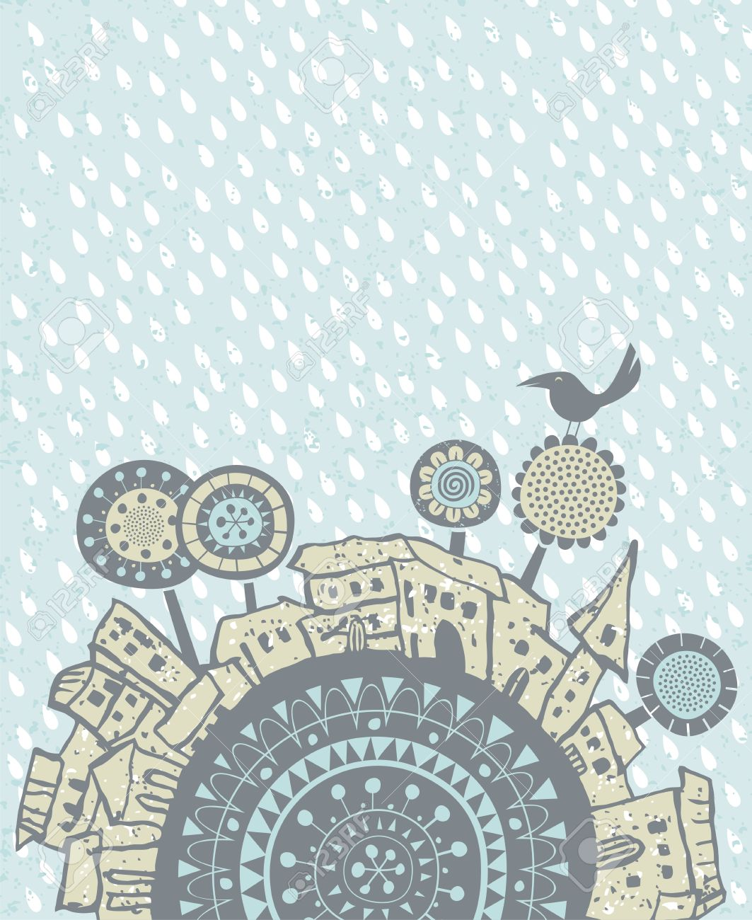 decorative illustration with falling rain over old city royalty free