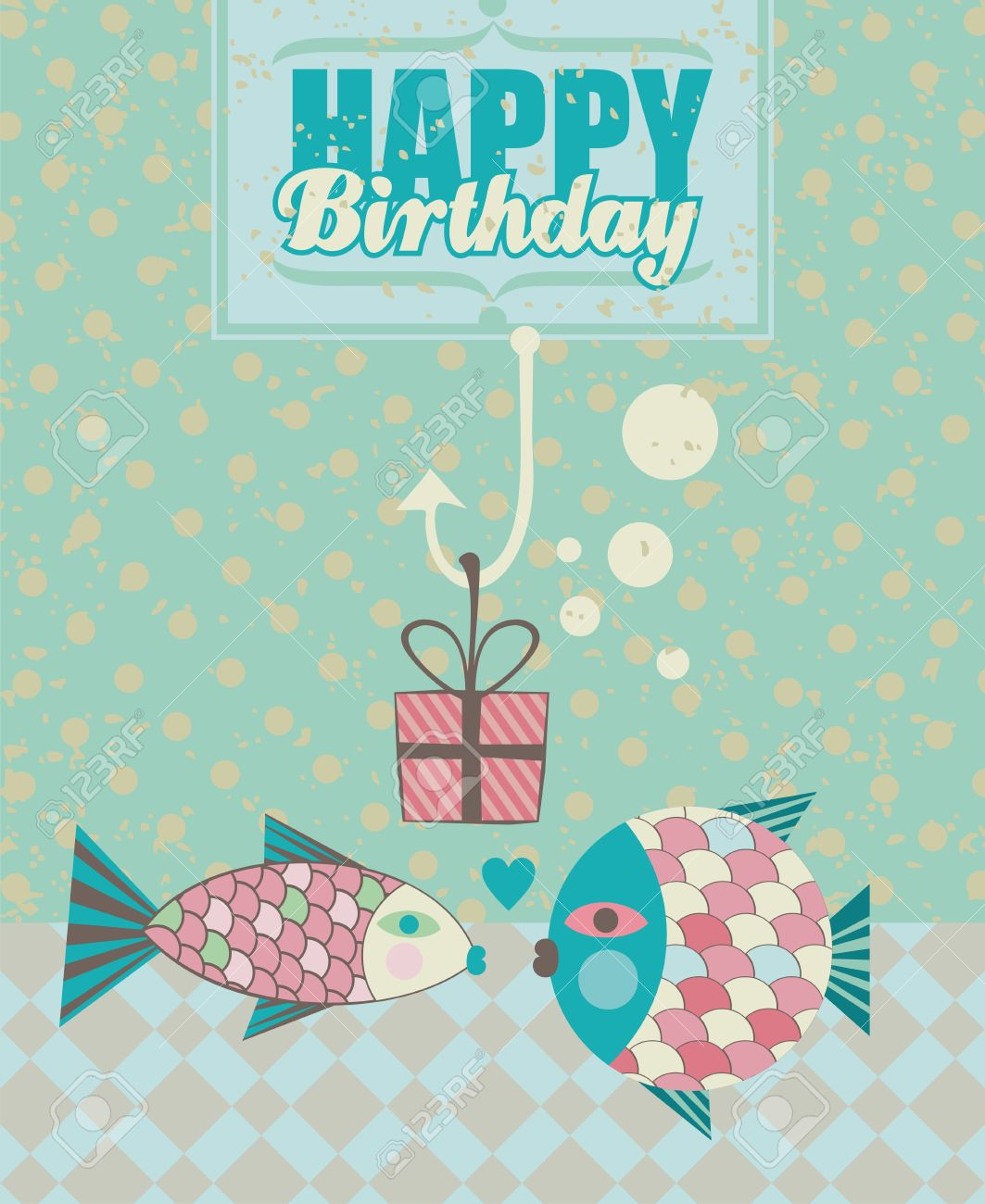 Birthday Card With Happy Fish Couple And Present Box In Fishing – Fish Birthday Card