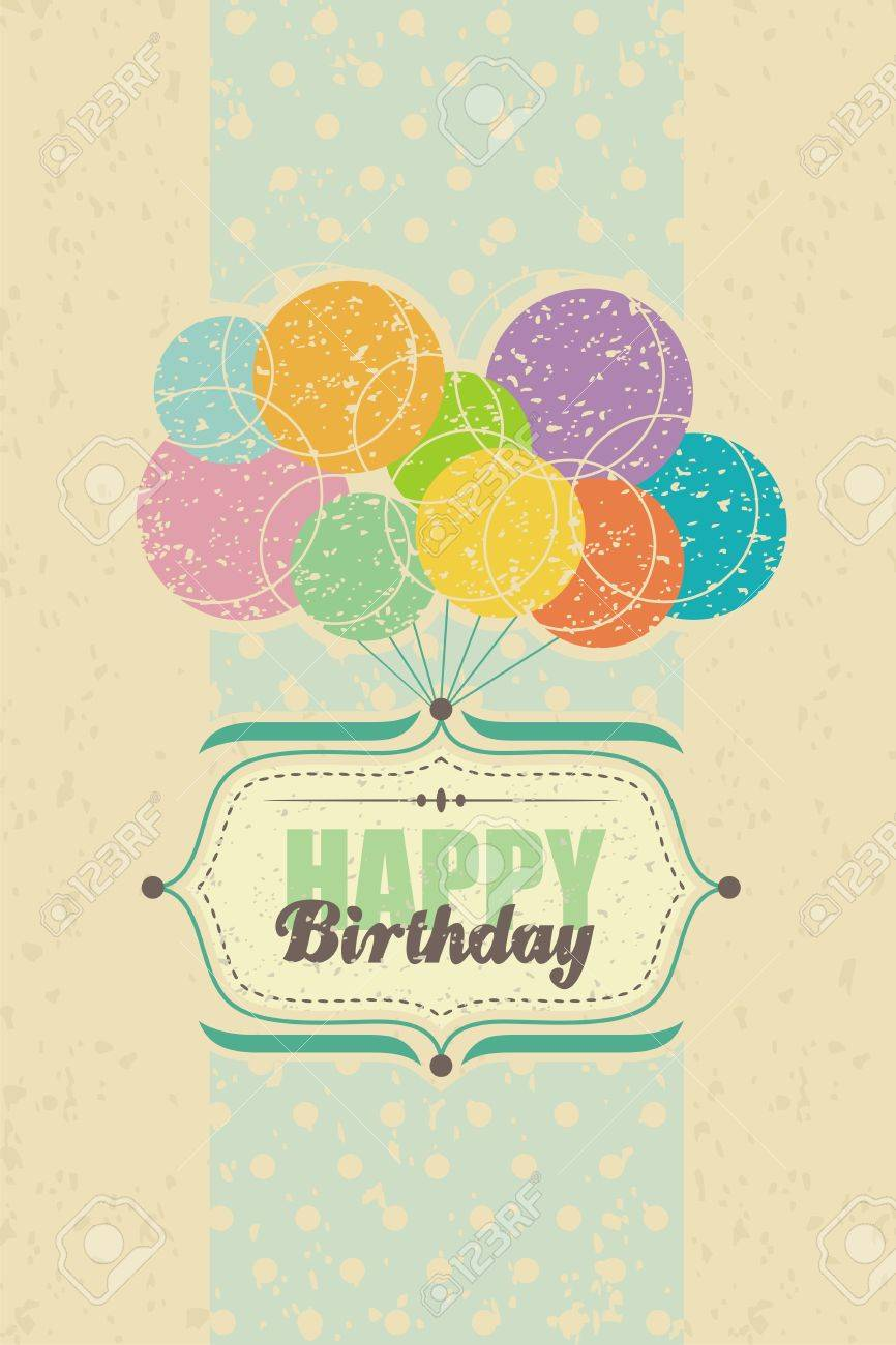 Happy birthday retro greeting card with balloons royalty free happy birthday retro greeting card with balloons stock vector 19632611 bookmarktalkfo Image collections