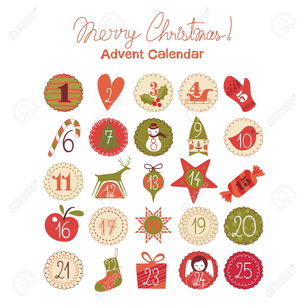 Advent calendar with various seasonal objects and symbols royalty advent calendar with various seasonal objects and symbols stock vector 23107118 buycottarizona Image collections
