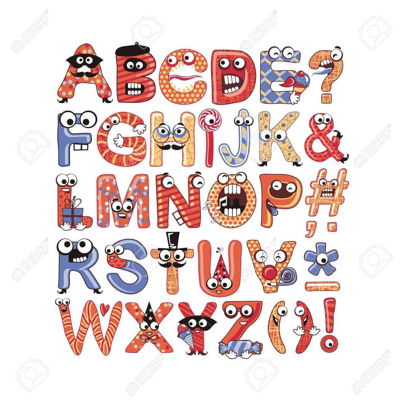 Colorful, funny alphabet set with party theme Stock Vector - 23330877