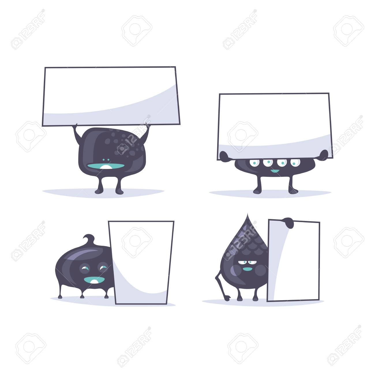 Set of funny creatures holding banners Stock Vector - 28138376