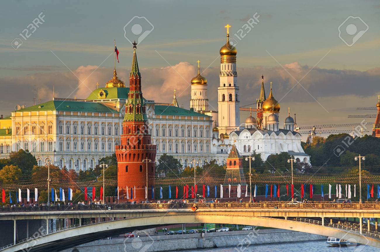 Beautiful and Famous view of Moscow Kremlin Palace and Churches,