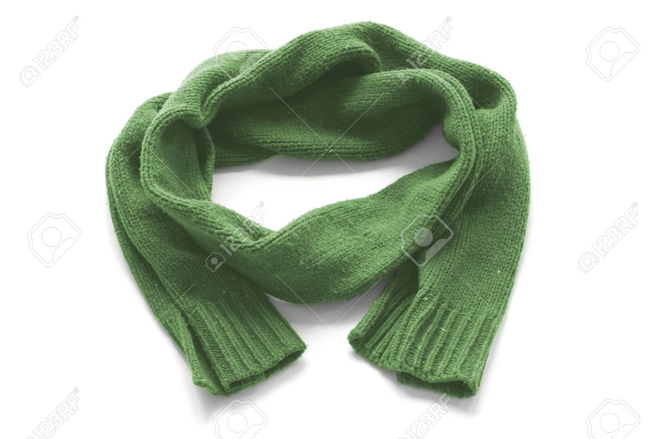 3674ff478c226 Green Warm Scarf On A White Background Stock Photo, Picture And ...