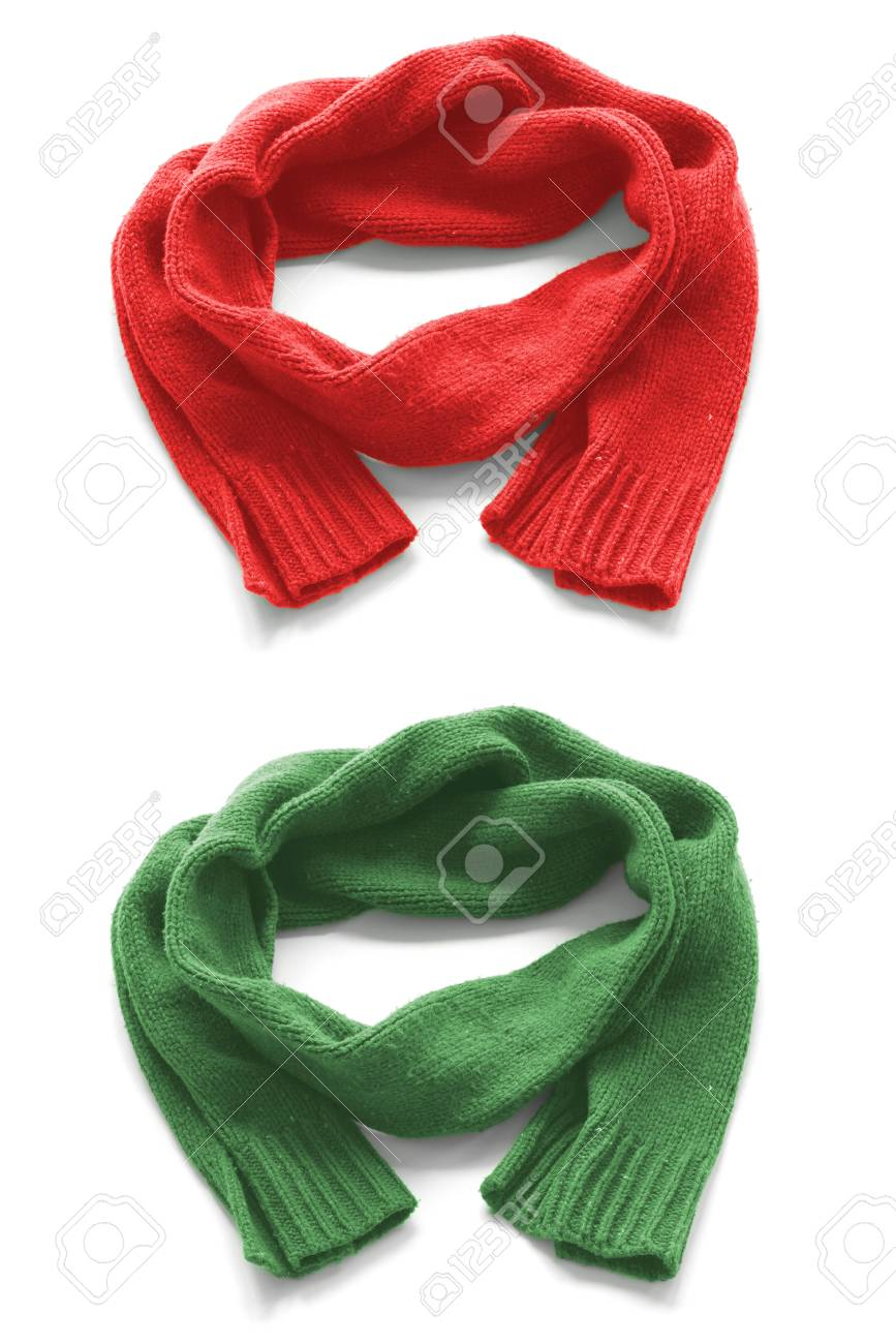 7a62683298afc Red and green warm scarves on a white background. Stock Photo - 66726004