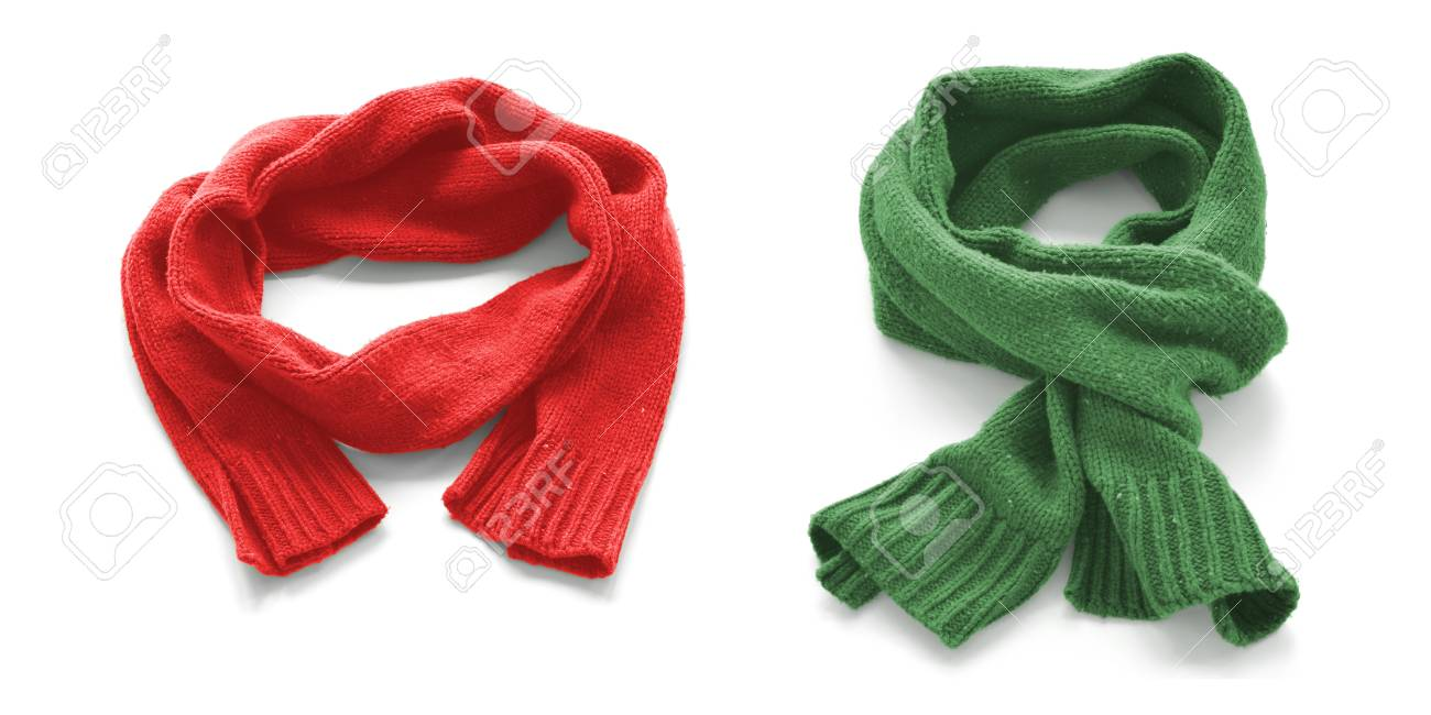 bed4f7fc1a5da Red and green warm scarves on a white background. Stock Photo - 66726008