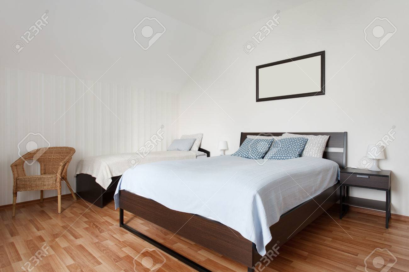 Small Bright Bedroom With Two Bunk Beds Interior Design Stock Photo