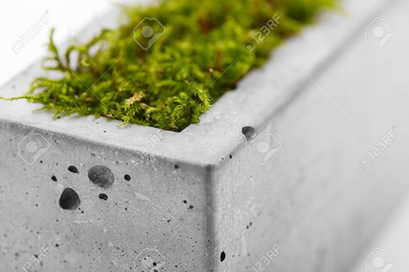 nahaufnahme von modischen beton-topf auf einem weißen hintergrund