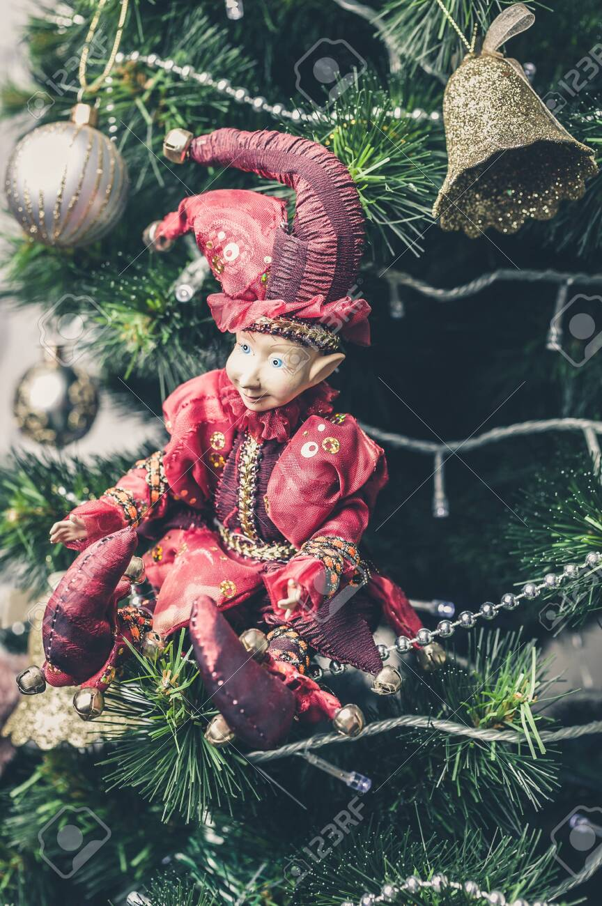 Joker Christmas Ornament.Christmas Or New Year Decorative Toy Joker Doll On Christmas