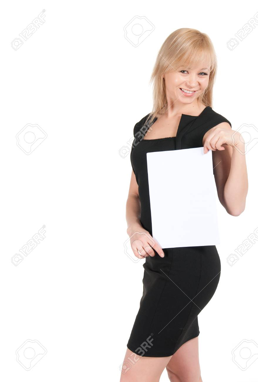 Young attractive business woman with a blank sheet of paper isolated on white. Stock Photo - 23812739
