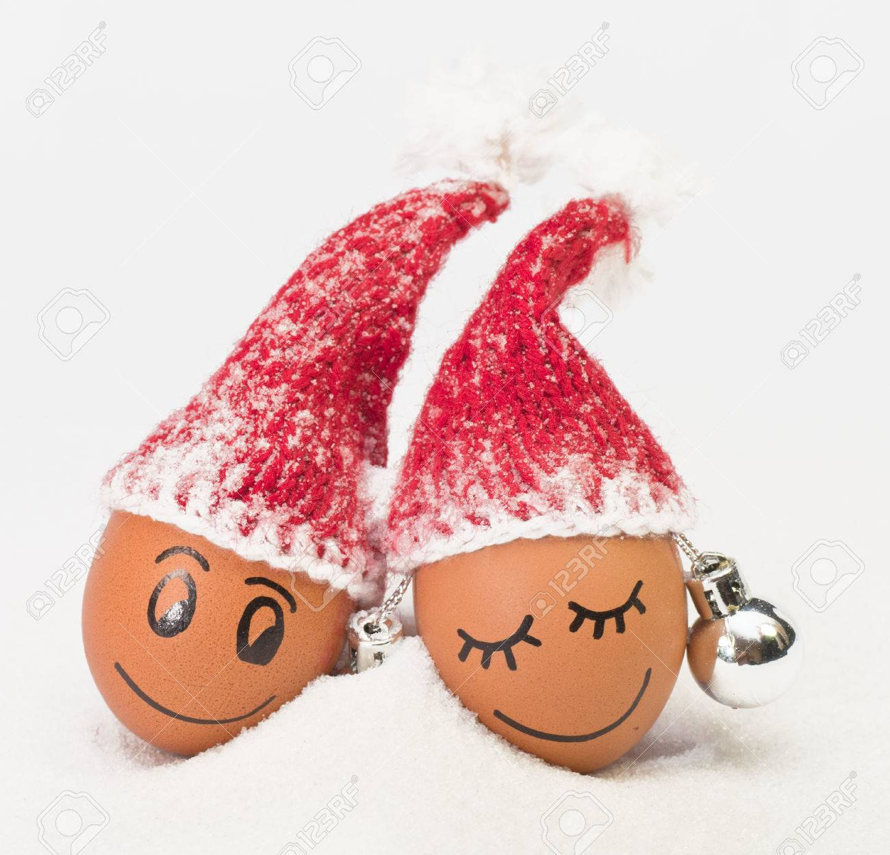 4fc1a79db9be8 funny lovely eggs in winter santa hats. sugar like a snowflakes. together  is more