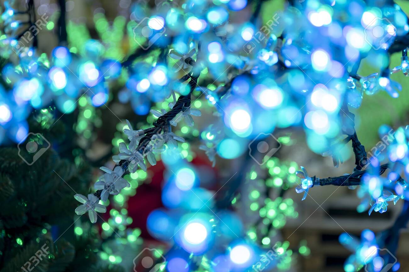 Christmas Decorations Neon Garlands Glowing Flowers The Interior