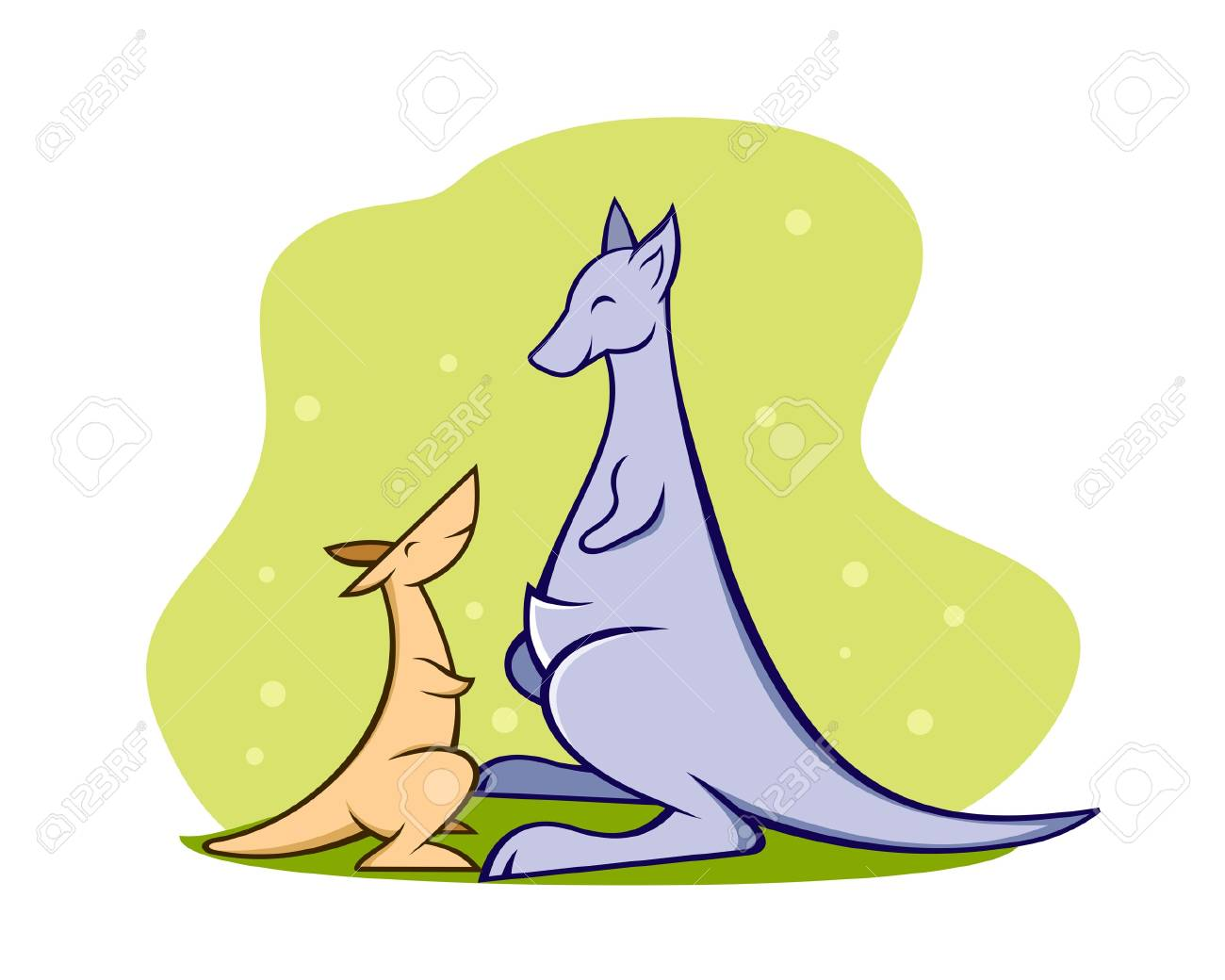 A illustration of a mother and baby kangaroo Stock Vector - 20230013