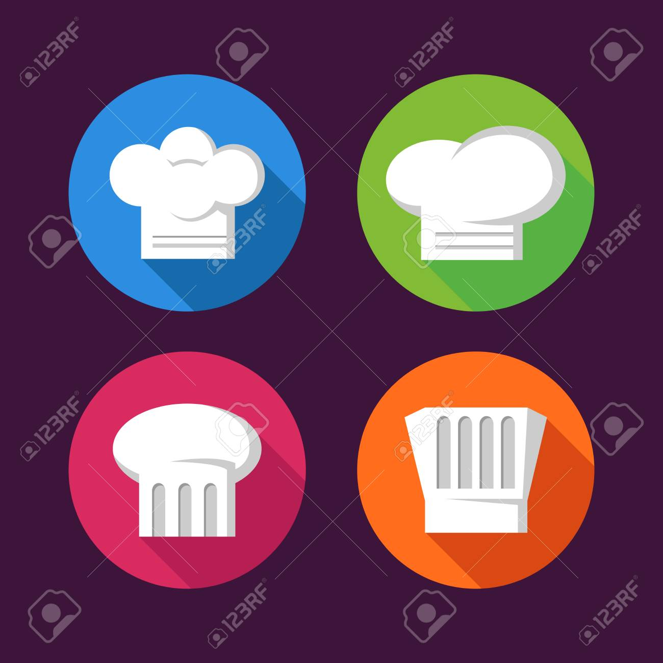 cba37070 Collection Of Colorful Chef's Hat Flat Icons Royalty Free Cliparts ...
