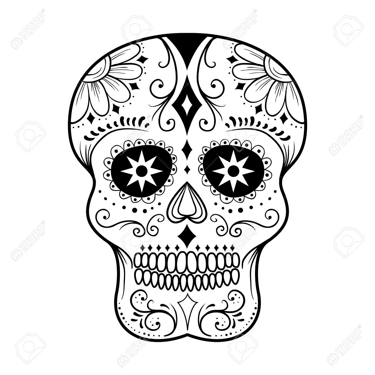 traditional colorful sugar skull art vector illustration royalty