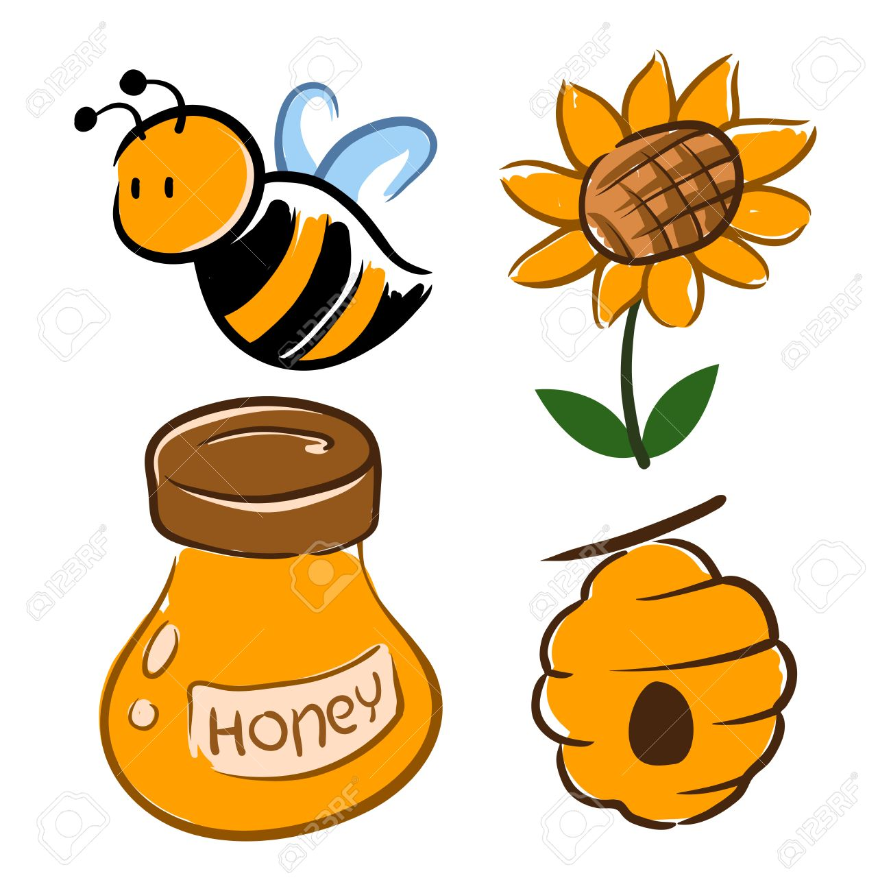 Hand Drawing Of Bumblebee With Flower And Honey Jar Vector Illustration Stock