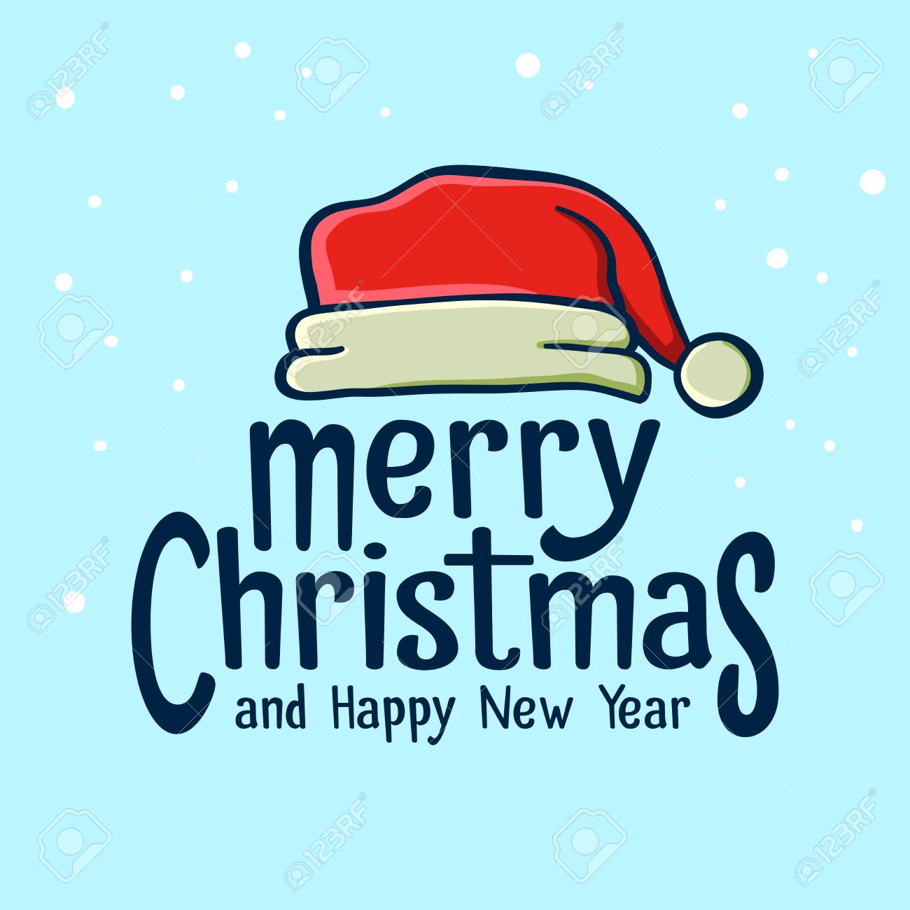 Merry Christmas And Happy New Year Greetings With Santa Claus