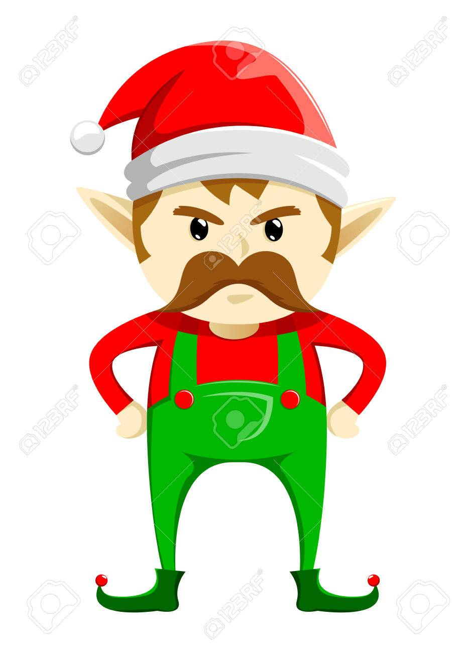 angry christmas elf with mustache vector illustration royalty