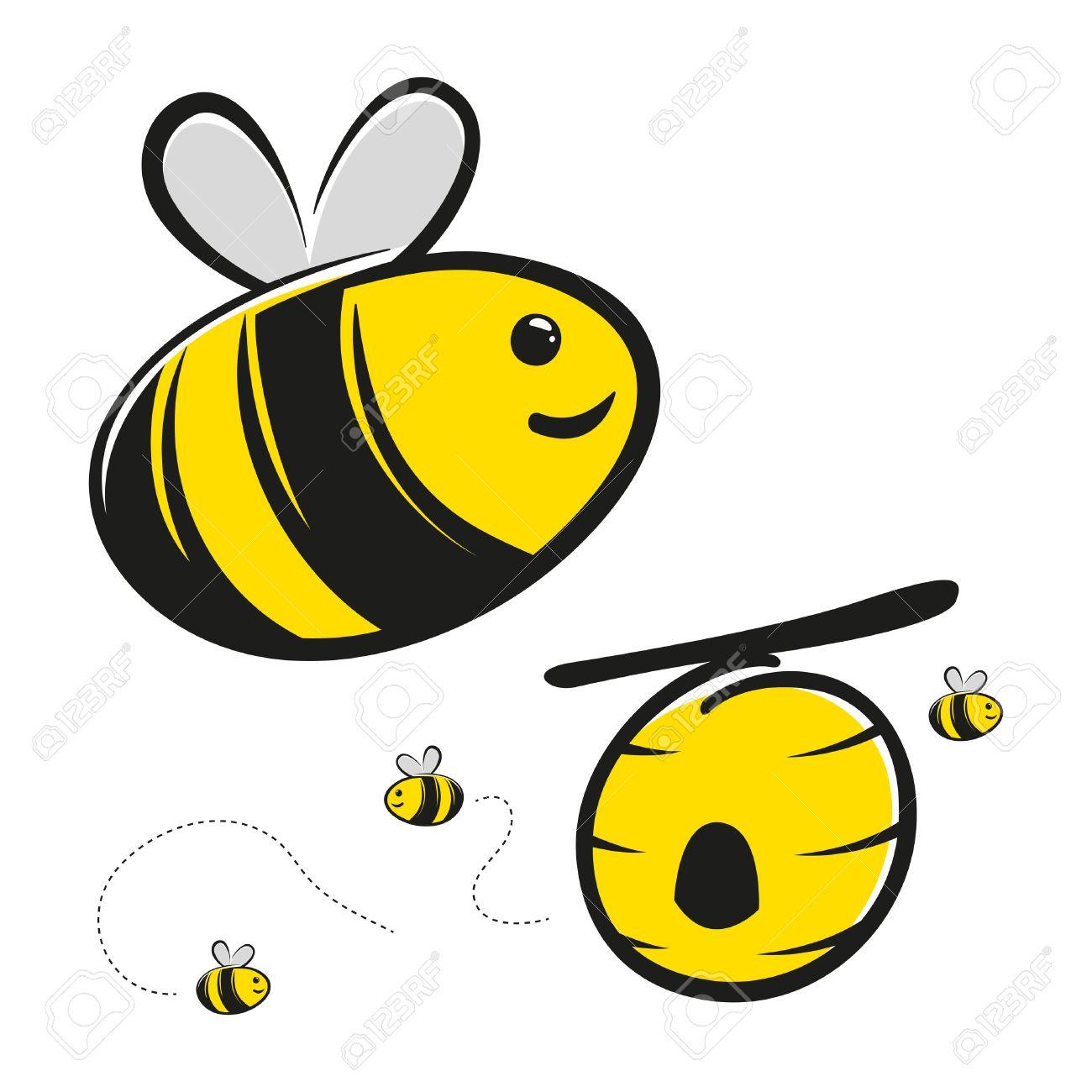Cute Honey Bee And Hive Vector Cartoon Stock