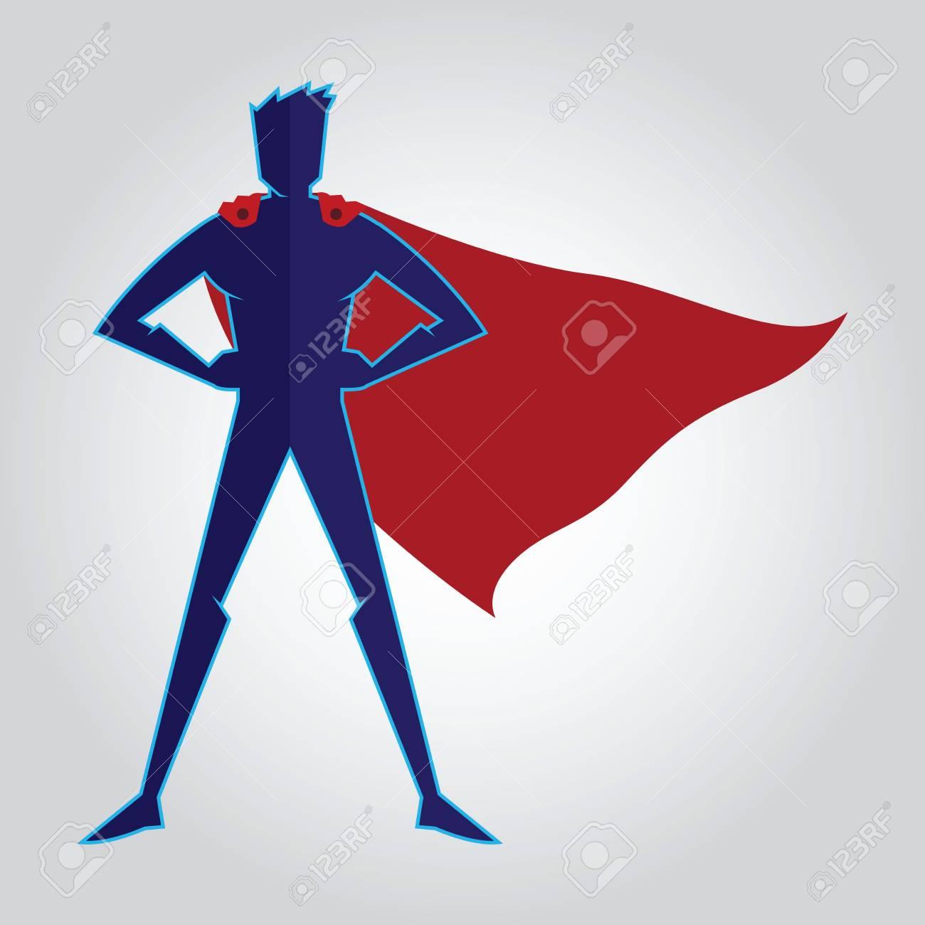 chaussure trouver le travail la réputation d'abord Superhero de caractère de cape figure, illustration vectorielle