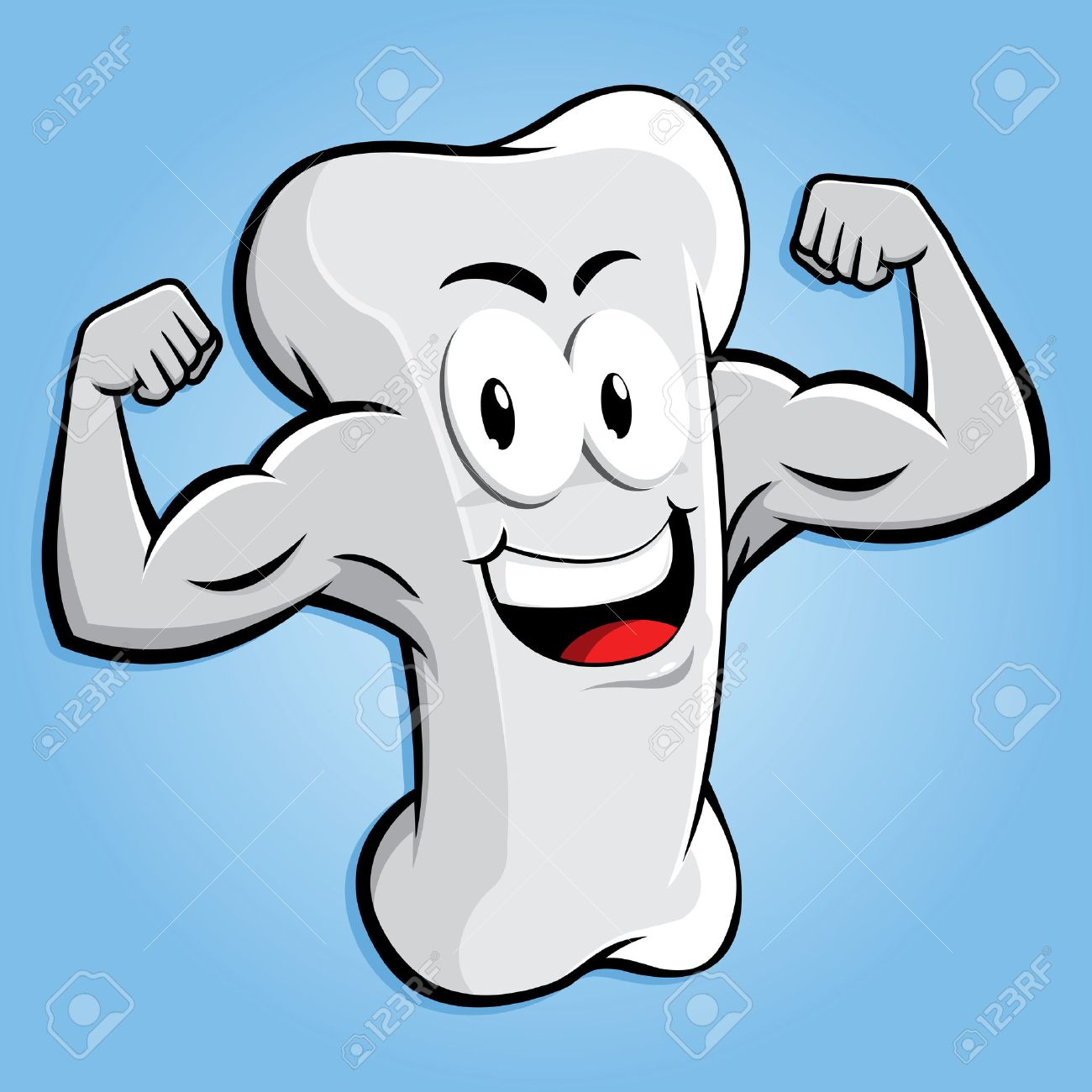 Happy strong bone character with muscular arm, vector cartoon - 55027135