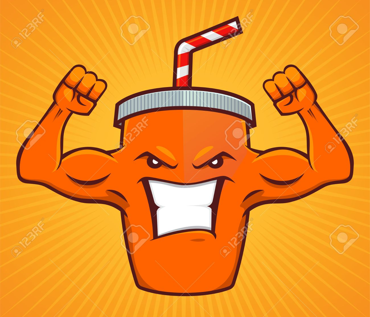 Cartoon character of a energy drink, with strong muscular arm - 55027149