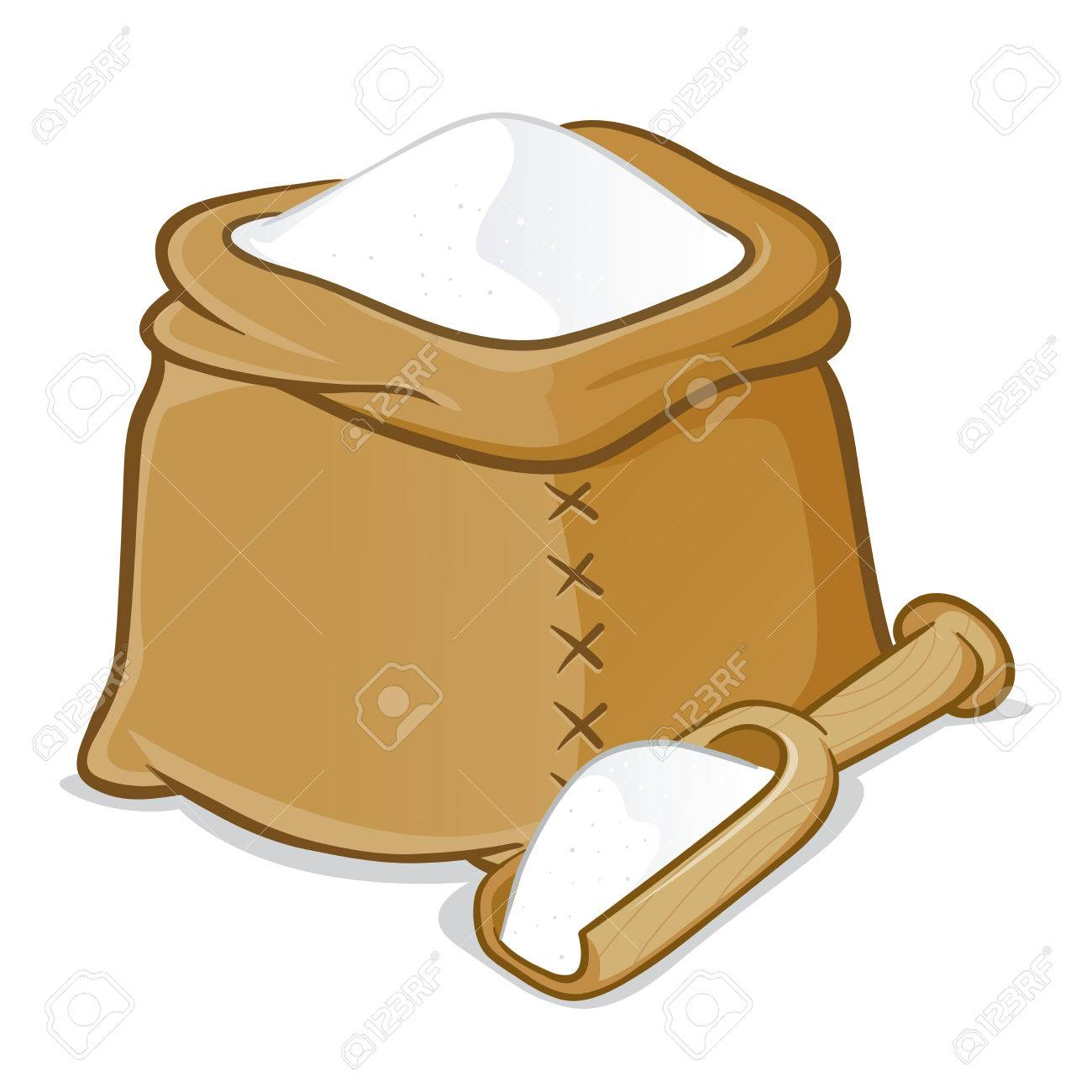 Vector Stock Of A Sack Full Of Flour With Wooden Scoop Royalty Free