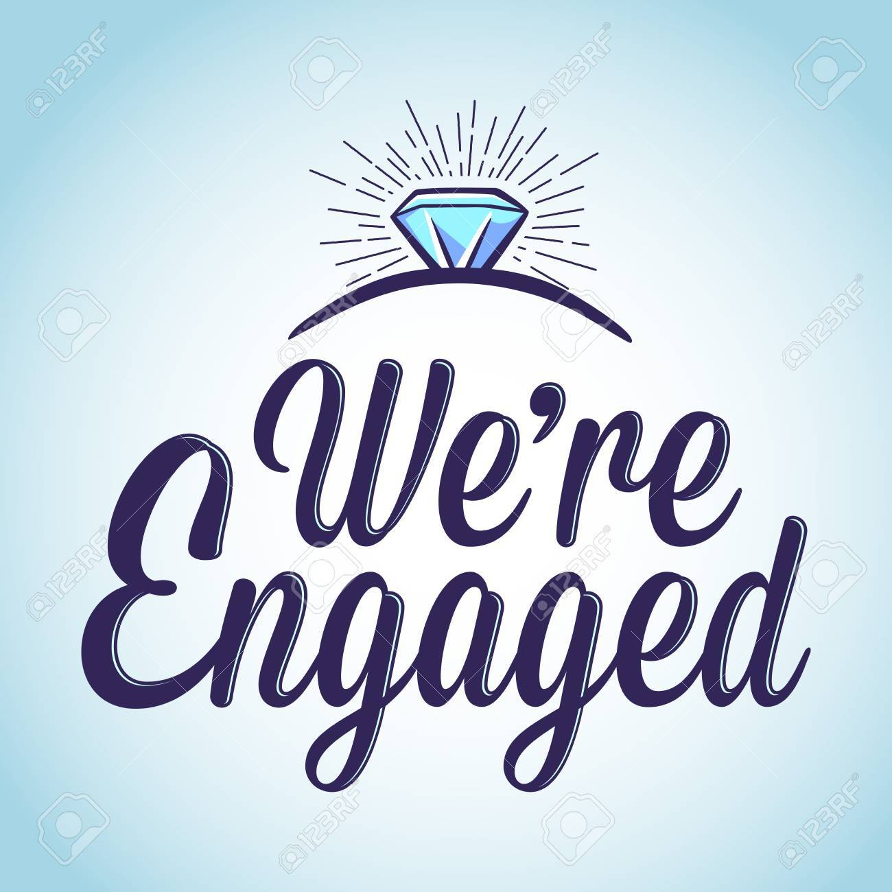 vector stock of we are engaged with ring typography art royalty free