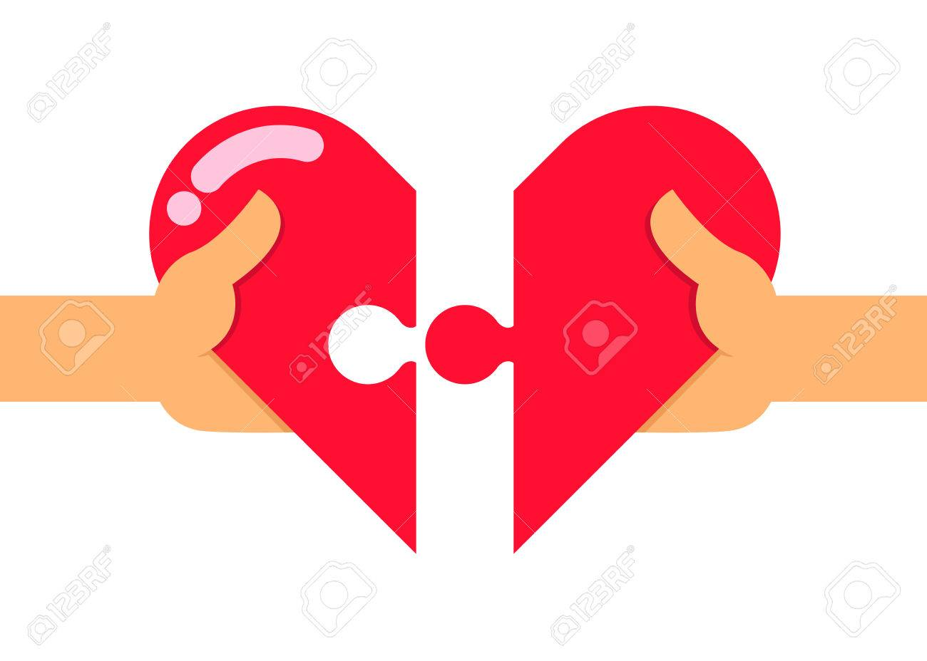 Vector Stock Of Two Hands Trying To Connect Two Heart Puzzle ...