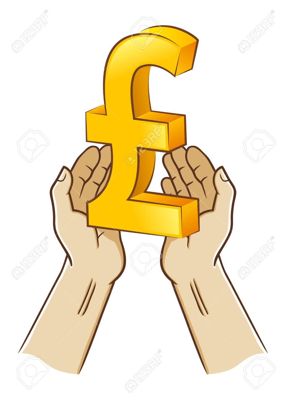 Vector Stock Of Two Hand Holding Pound Sterling Currency Symbol