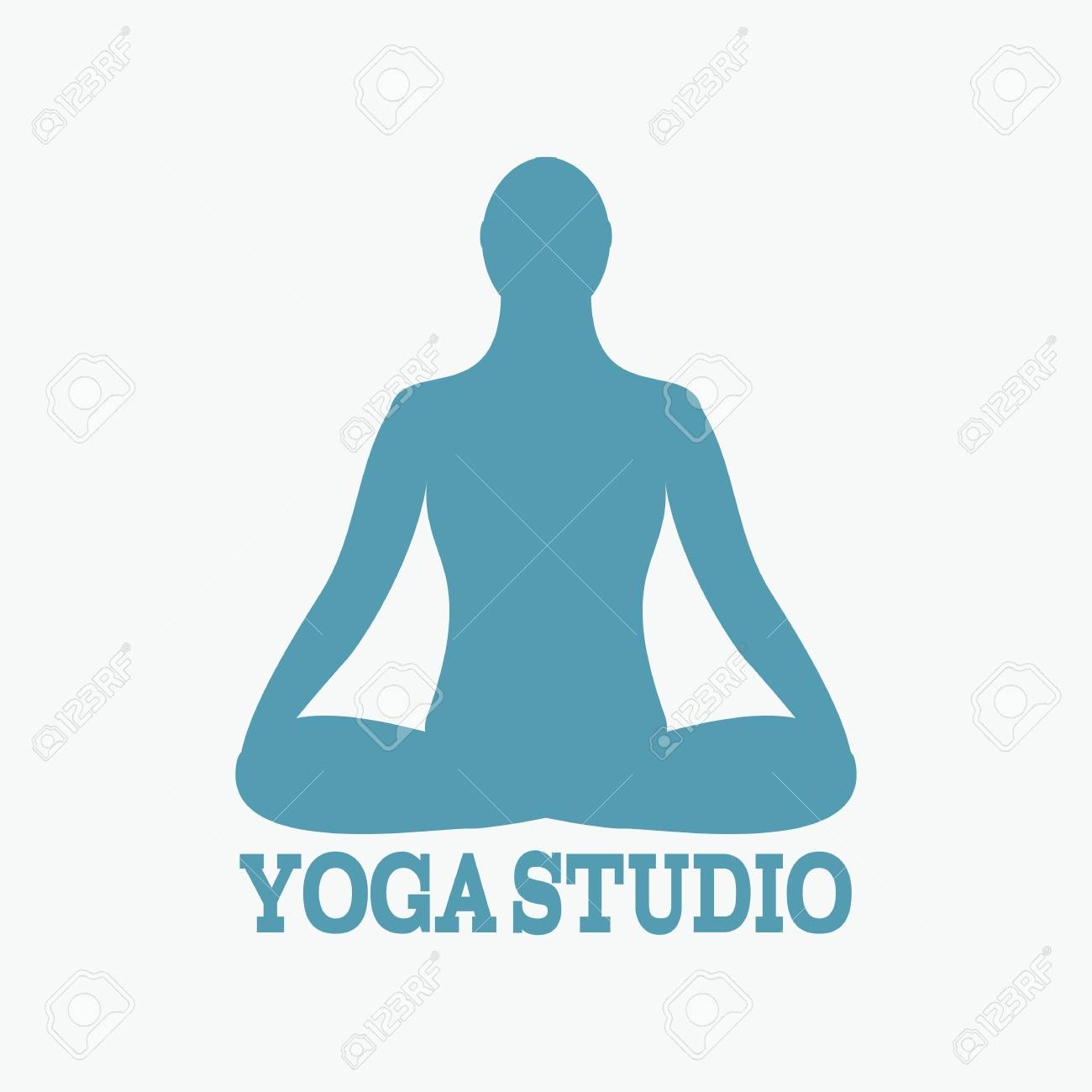Meditation Icon Human Meditating In Lotus Pose Vector Yoga Fitness Gym