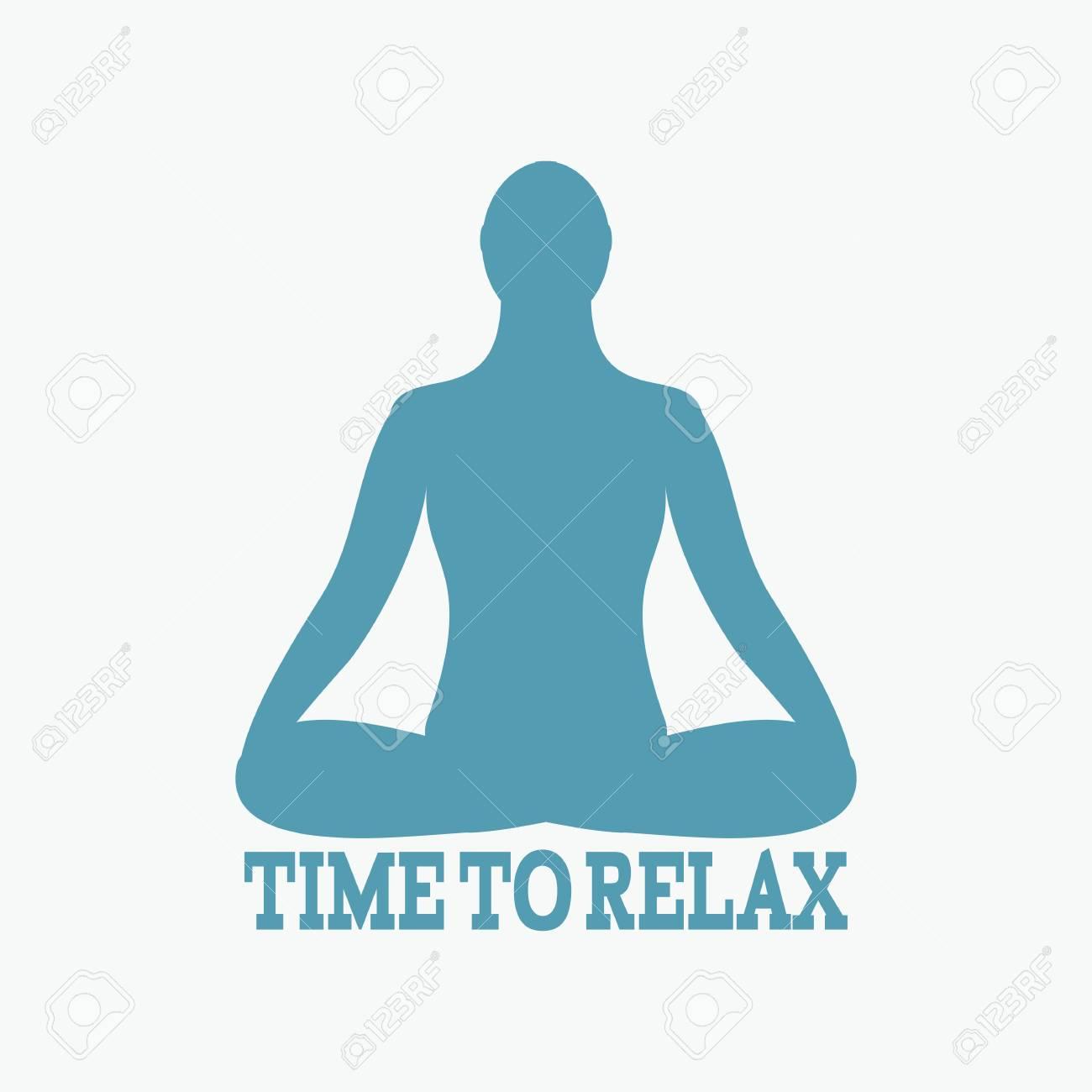 Meditation Icon Human Meditating In Lotus Pose Vector Yoga Fitness Gym
