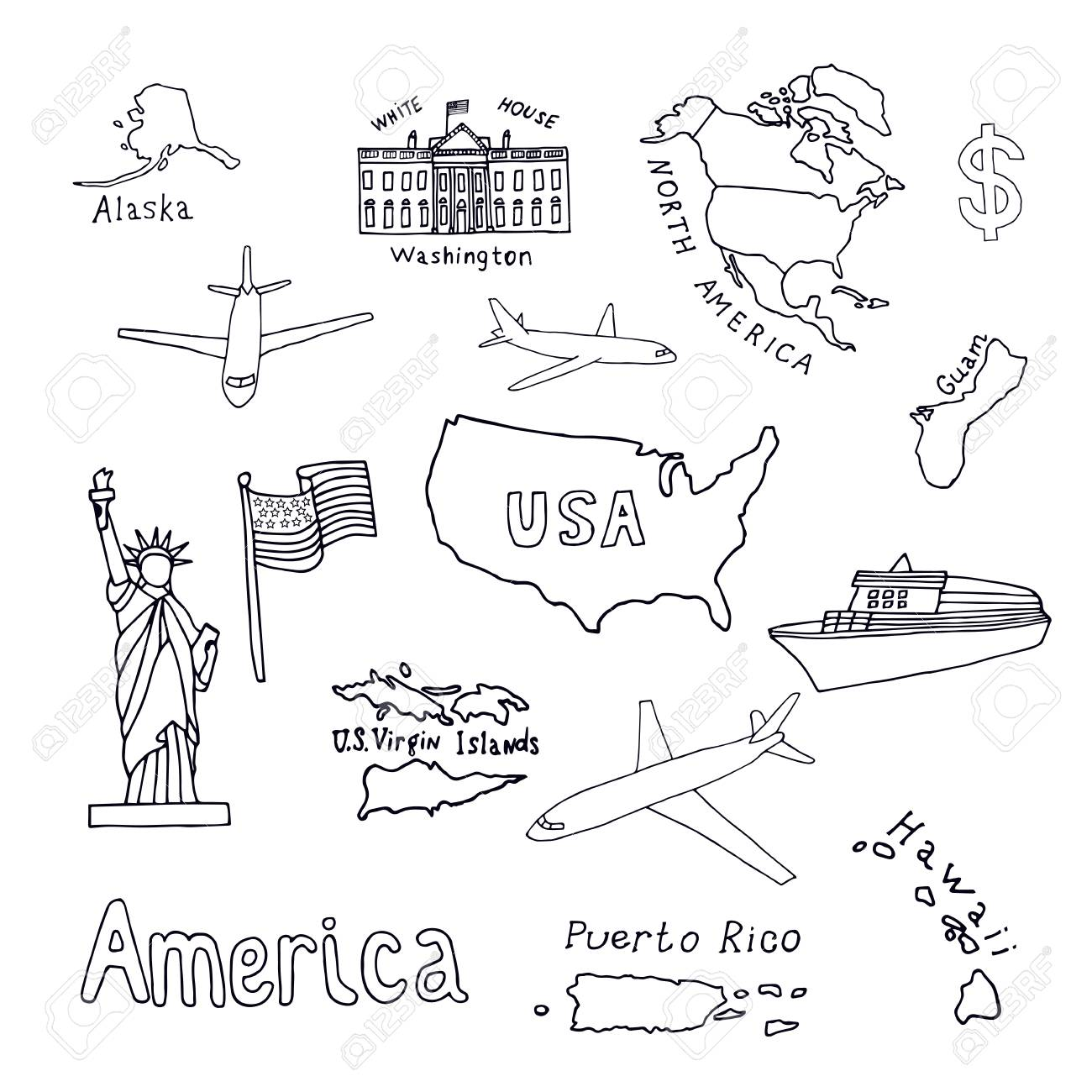 Map of the United States of America and its territories. North..