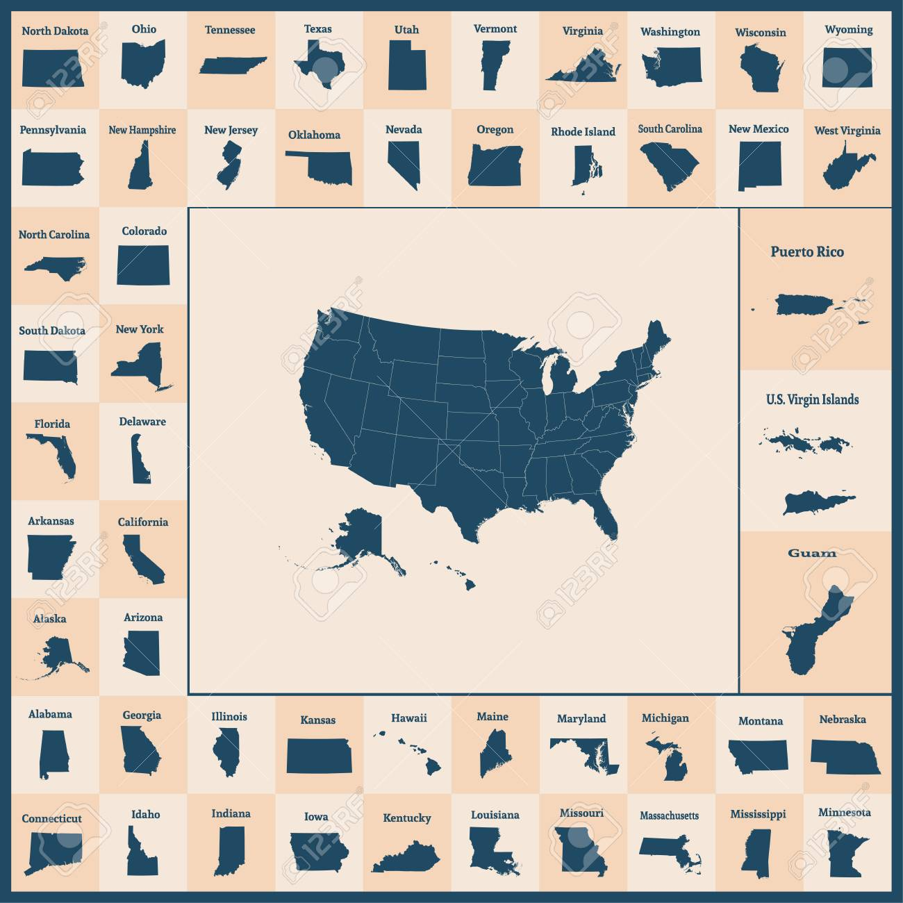 Puerto Rico And Us Map.Outline Map Of The United States Of America 50 States Of The