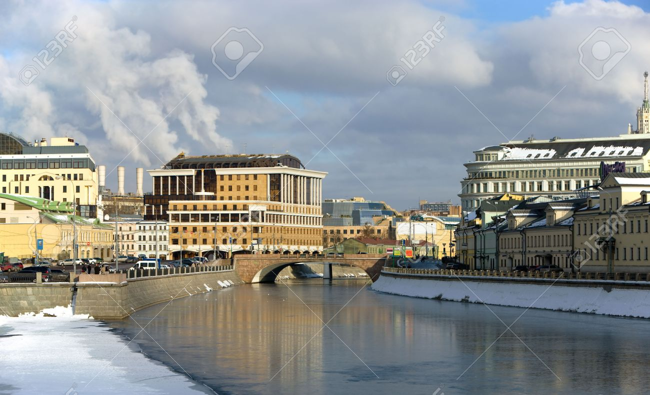 View on frozen bypass canal of river Moscow, Moscow city, Russia Stock Photo - 4379471