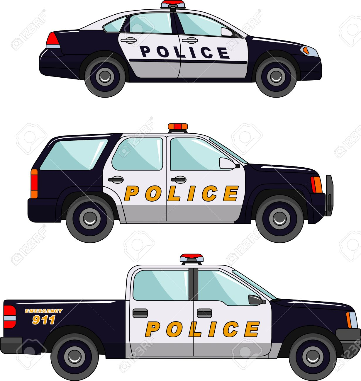 Three variants of the police car in a flat style - 38166450