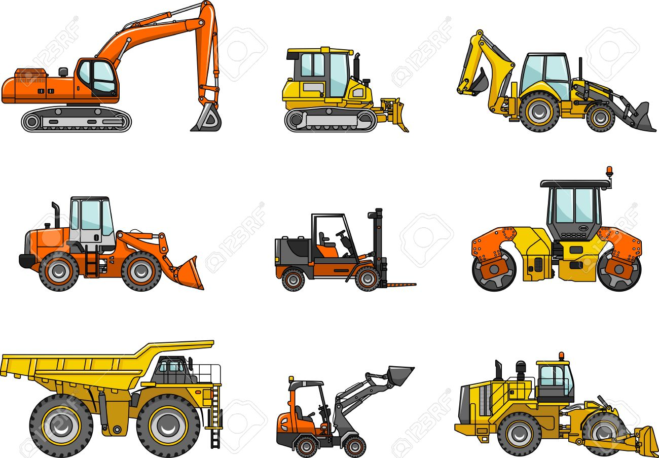 Silhouette illustration of heavy equipment and machinery - 39391243