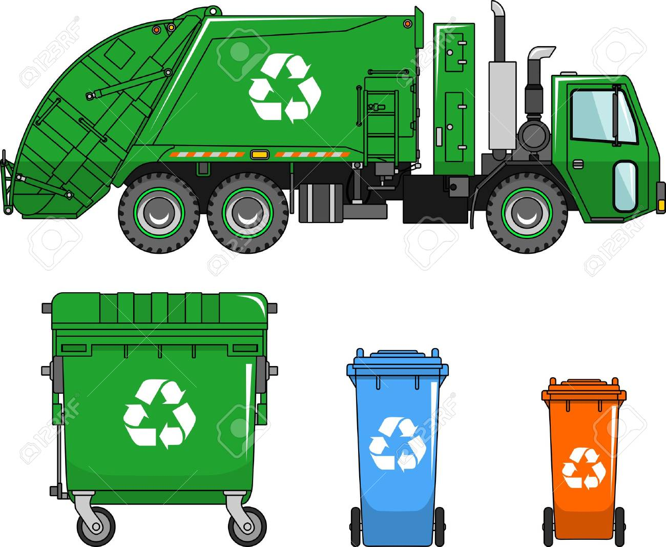 Garbage truck and three variants of dumpsters in a flat style - 43157446